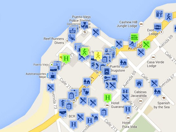 Puerto viejo satellite map hotels transport tours restaurants the map gumiabroncs
